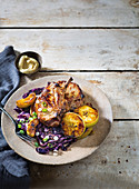 Pork cutlets with braised apple and red cabbage