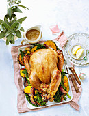Sticky cola-glazed turkey with spicy capsicum and rice stuffing