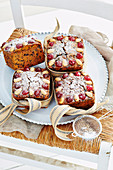 Christmas cakes with dried fruit and brandy