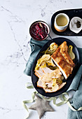 Prosecco-poached turkey with thyme gravy