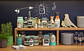 Storage jars with handwritten labels made from chalkboard fabric