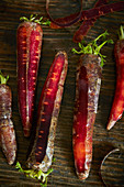 Deep red carrots