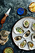 Oysters with caviar, cucumber relish, and grapefruit granita