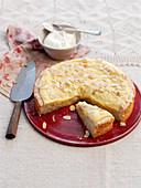 Vanille-Mandel-Kuchen, angeschnitten