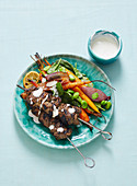 Moroccan Lamb Kebabs with Roasted Carrot Salad