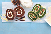 Triple chocolate swiss roll, Sun-dried tomato and spinach swiss roll