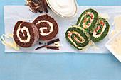 Triple Chocolate Biskuitrolle und Spinatroulade mit getrockneten Tomaten