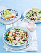 Chicken schnitzel and avocado bowls