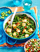 Paneer, spinach and peas