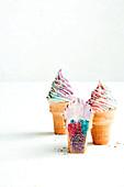 Unicorn cupcake cones