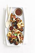 Crispy tofu with mushroom salad
