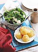 Duchess potatoes and Warm Pea Salad