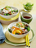 Sweet chilli poached egg soba noodles
