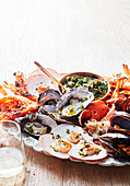 Seafood Platter with olive sause vierge