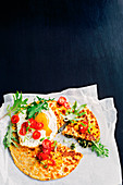 Spicey kale, feta and fried egg quesadillas