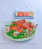 Teriyaki salmon with sesame greens