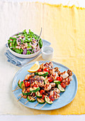 Barbecued seafood skewers with asparagus salad