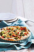 Salmon and broccoli tart