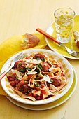 Tagliatelle with tomato meatballs