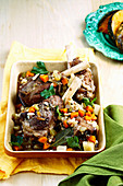 Braised lamb Shanks with beans