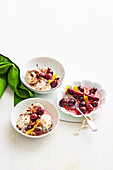 Christmas Pudding Ice-Cream with Poached Cherries