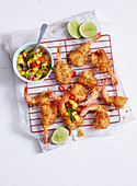 Coconut Prawn Cutlets with Mango Salsa