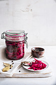 Pickled red cabbage and various ingredients