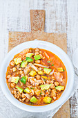 Stew with salsiccia, chickpeas, cabbage and avocado