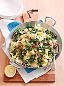 Lemon, pecan and kale pappardelle