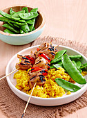 Lemongrass chicken skewers with turmeric rice