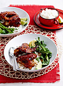 Sticky chicken wings with coconut rice