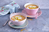 Cream of onion and sweet potato soup with chickpea foam