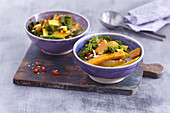 Sweet potato and kale curry with smoked tofu and chilli