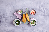 Oven-baked sweet potatoes with four dips