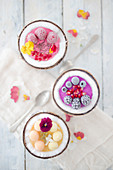 Frozen smoothie bowls with fruit and edible flowers in coconut shells