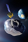 Asteroid deflection mission, illustration