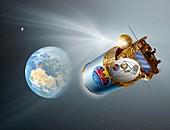 Comet deflection mission, illustration