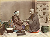 Doctor and patient in Japan, 19th century