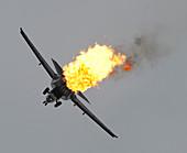 F-111 Aardvark aircraft performing a dump-and-burn