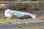 Light aircraft crash wreckage