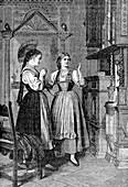 Young Swiss women, 19th Century illustration