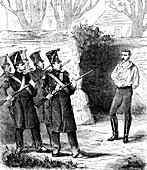 Augustin Caron's execution, Italy, 19th C illustration