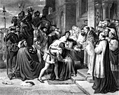 Death of Cardinal Wolsey, 19th Century illustration