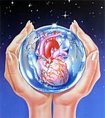 Global heart disease prevention, conceptual image