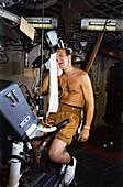Exercise bike training for Skylab, 1973