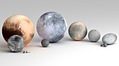 Dwarf Planets and Moons Compared