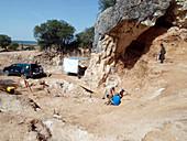 Surveying at Cueva Fantasma fossil site, Spain
