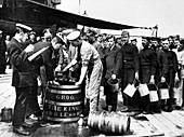 Grog being issued to British sailors, First World War