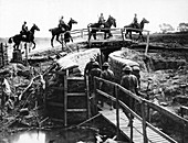 British cavalry crossing a trench, First World War