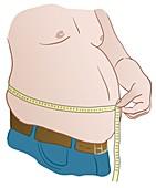 Overweight man measuring waist, illustration